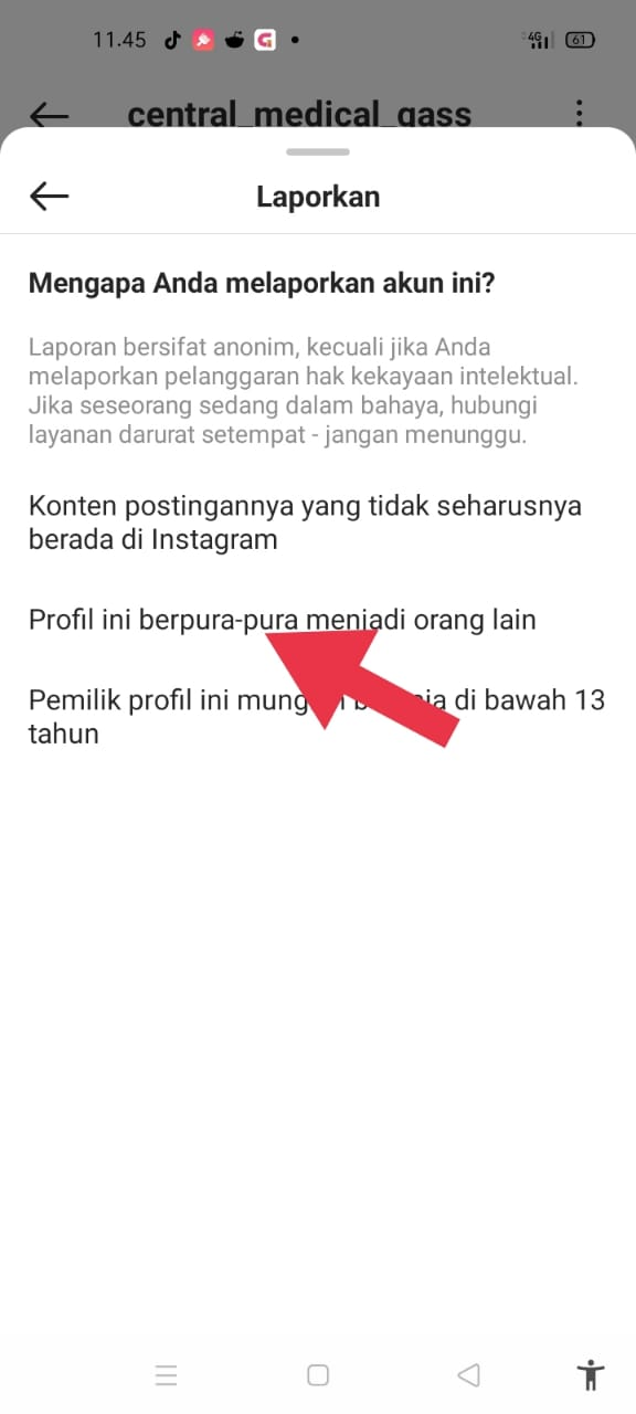 Cara melaporkan akun penipuan di Instagram